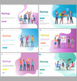 startup presentation on whiteboard partners set vector image
