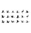 stork bird icons set simple bird fly vector image vector image