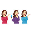 surprised woman with phone vector image vector image