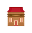 wood house icon flat style vector image vector image