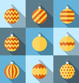 Flat icon set of christmas decorations vector image