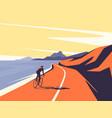 a cyclist riding along the vector image vector image