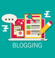 a laptop with blogging activity flat vector image vector image