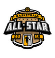 all stars of basketball logo emblem vector image vector image