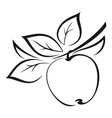 Apple with Leaves Black Pictogram vector image