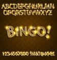 Bingo Golden glowing alphabet vector image vector image