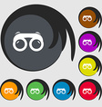 binoculars icon sign Symbols on eight colored vector image vector image