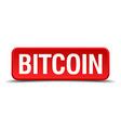 bitcoin red three-dimensional square button vector image