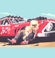 blond girl sitting near red car vector image vector image