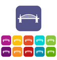 bridge icons set flat vector image vector image