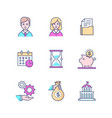 business - set line design style icons vector image