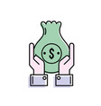 businessman with bag cash money and hands up vector image