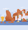 city on mountain with amazing seascape flat vector image