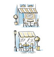 coffeeshop outsider two outdoor cafes hand drawn vector image vector image
