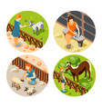 contact zoo icon set vector image