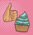 cupcake pop art vector image vector image