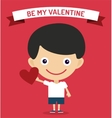 Cute cartoon boy with heart vector image