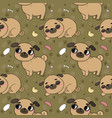cute cartoon pug pattern cheerful funny dog vector image vector image