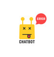 erroneous yellow chatbot icon on white vector image vector image