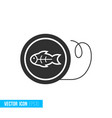 fishing line reel icon in silhouette flat style vector image vector image