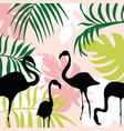 flat composition leaves and flamingo vector image vector image