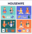 flat housewife life square concept vector image vector image
