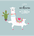 funny llama with cactus vector image vector image