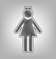 girl sign pencil sketch vector image vector image