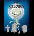 halloween background with skeleton walking in the vector image vector image