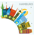 hamburg germany city skyline with color buildings vector image vector image