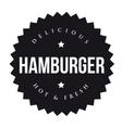 Hamburger vintage black stamp vector image vector image