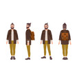 happy hipster man with glasses and beard dressed vector image vector image