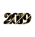 happy new year card black textured number 2019 vector image