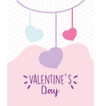 happy valentines day hanging hearts love vector image vector image