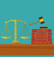 law and justice with gavel scales and law books vector image vector image