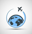 Logo airplane fly around the earth vector image vector image