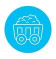Mining coal cart line icon vector image
