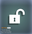 open lock icon symbol on the blue-green abstract vector image