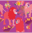 pink lions and lioness on dark blue background vector image vector image