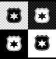 police badge icon isolated on black white and vector image vector image