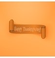 Realistic scroll Thanksgiving orange Ribbon vector image