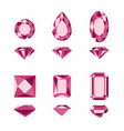 red gemstones and diamonds shapes vector image vector image