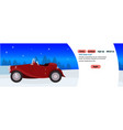 red retro car happy new year merry christmas vector image
