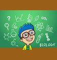 school boy write chemistry biology vector image