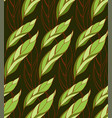 seamless floral pattern of leaves on a dark vector image