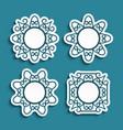 set cutout paper labels with ornamental borders vector image