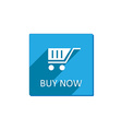 shopping cart Flat Blue Icon with long shadow vector image vector image