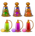 six bottles with perfume with gold ornament vector image vector image