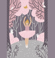 small young ballerina dancing in nature happy vector image