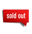 sold out red 3d speech bubble vector image vector image